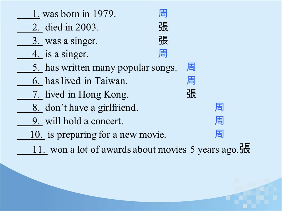 1. was born in 1979. 周 2. died in 2003. 張. 3. was a singer. 張. 4. is a singer. 周.