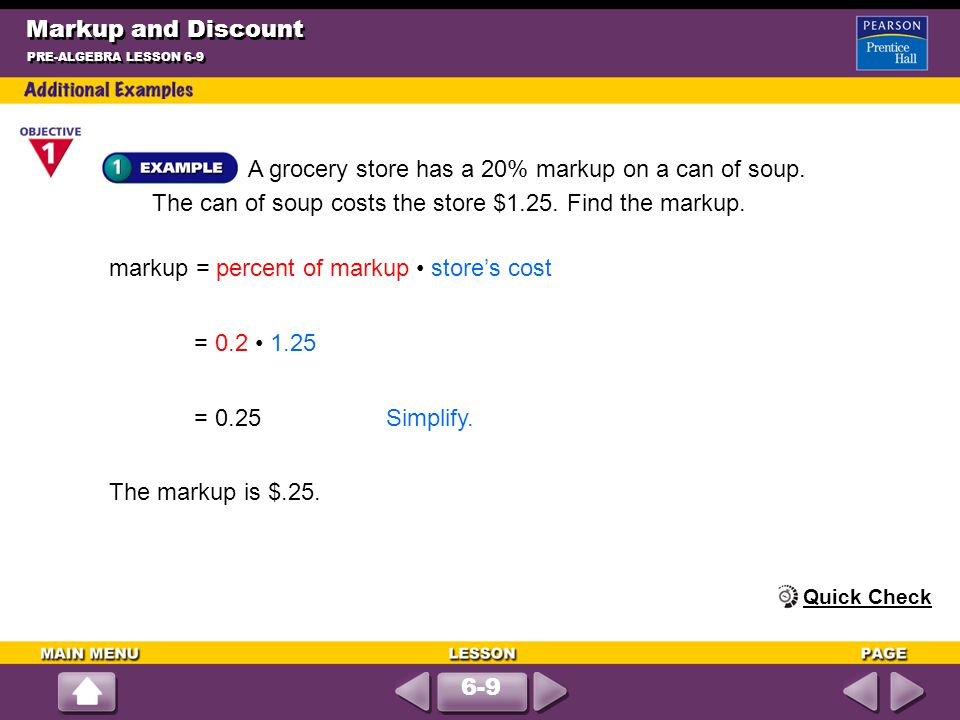 markup = percent of markup • store's cost