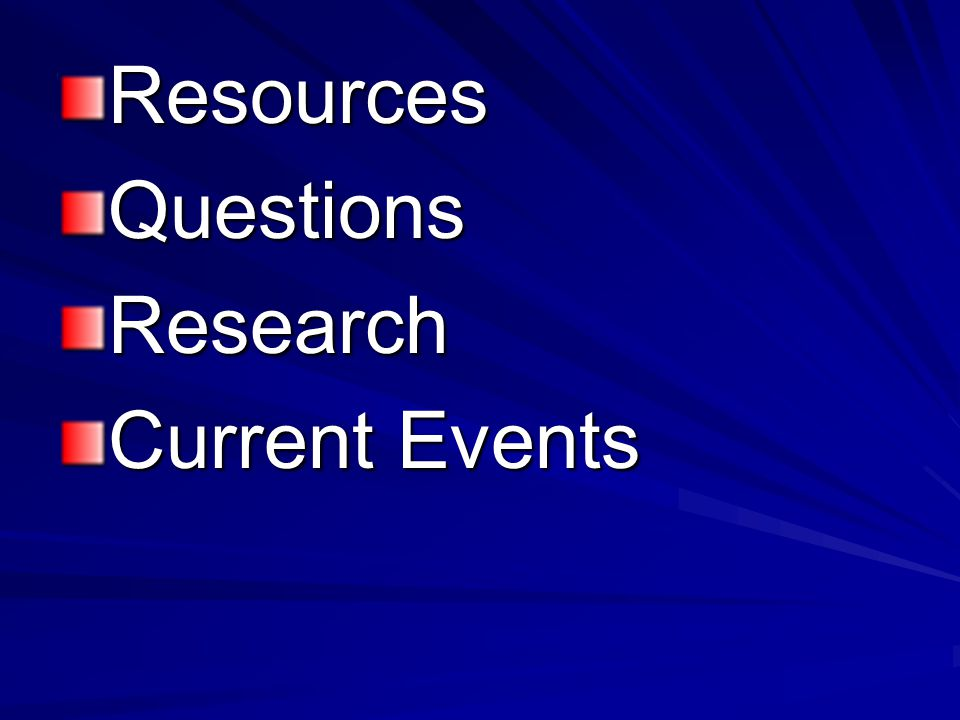 Resources Questions Research Current Events