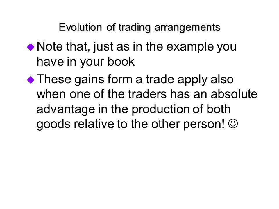 Evolution of trading arrangements