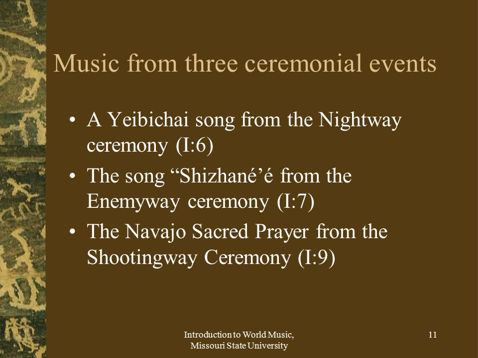 Music from three ceremonial events