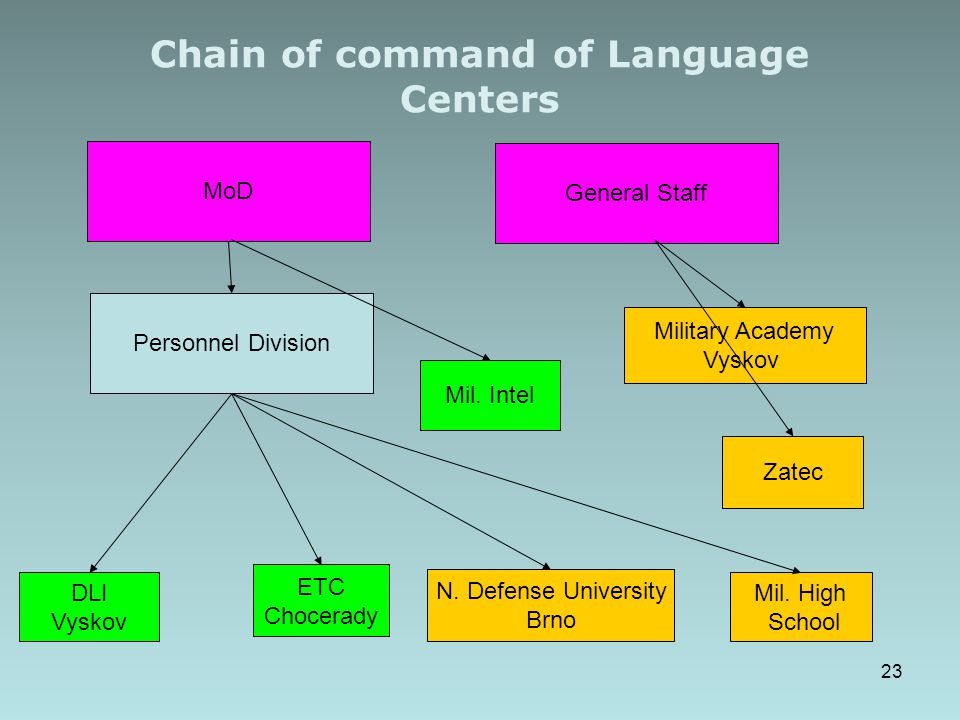 Chain of command of Language Centers