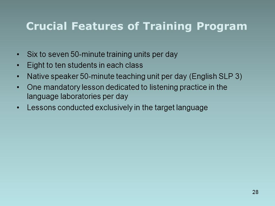 Crucial Features of Training Program
