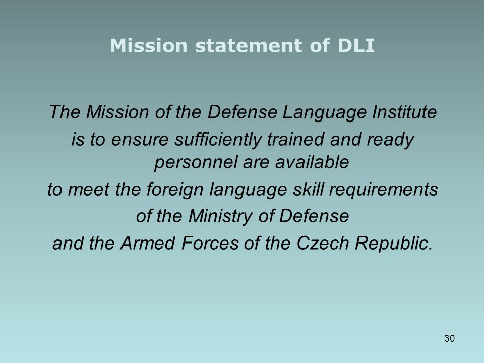 Mission statement of DLI