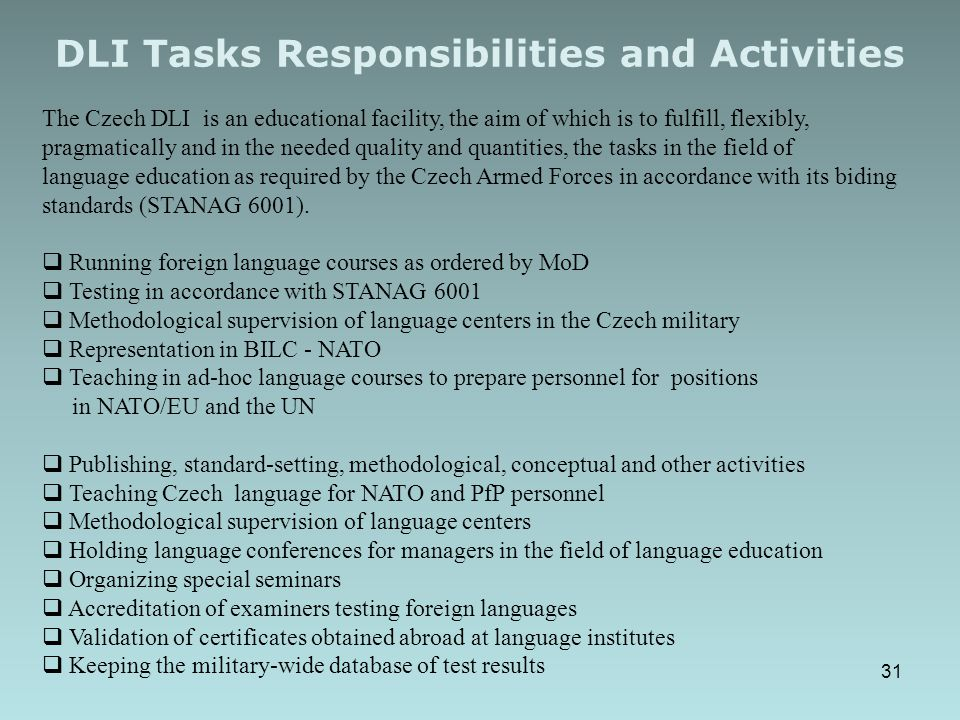 DLI Tasks Responsibilities and Activities