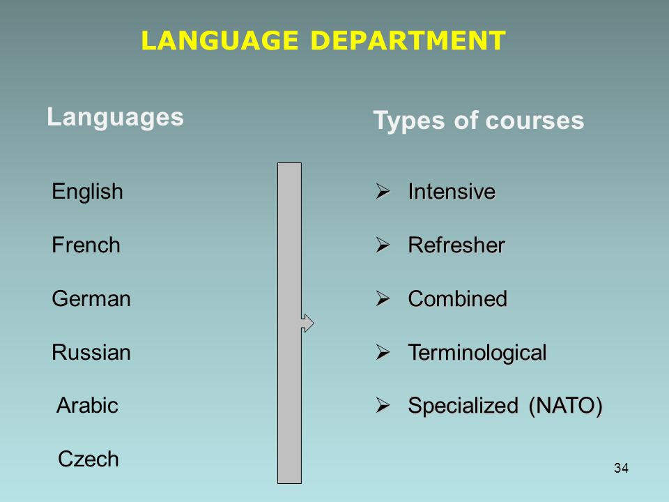 LANGUAGE DEPARTMENT Languages Types of courses English French German