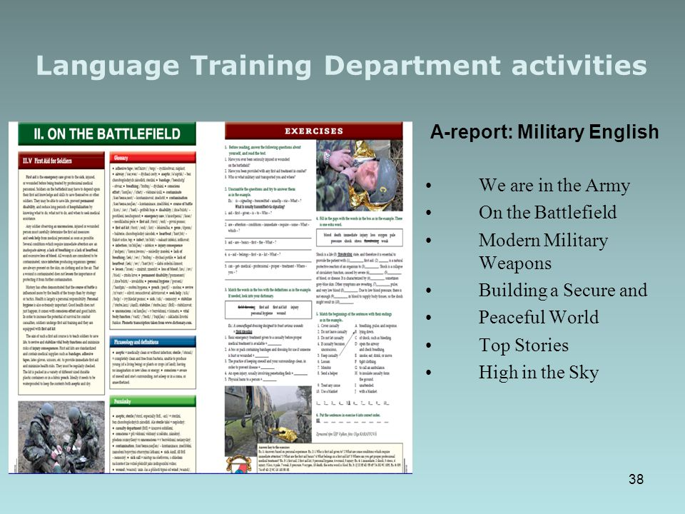 Language Training Department activities