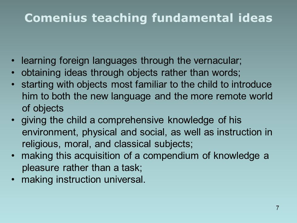 Comenius teaching fundamental ideas