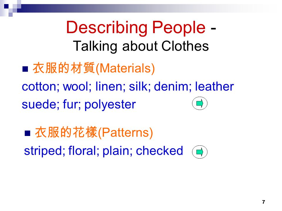 Describing People - Talking about Clothes