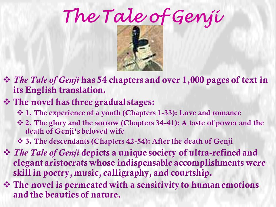 The Tale of Genji The Tale of Genji has 54 chapters and over 1,000 pages of text in its English translation.