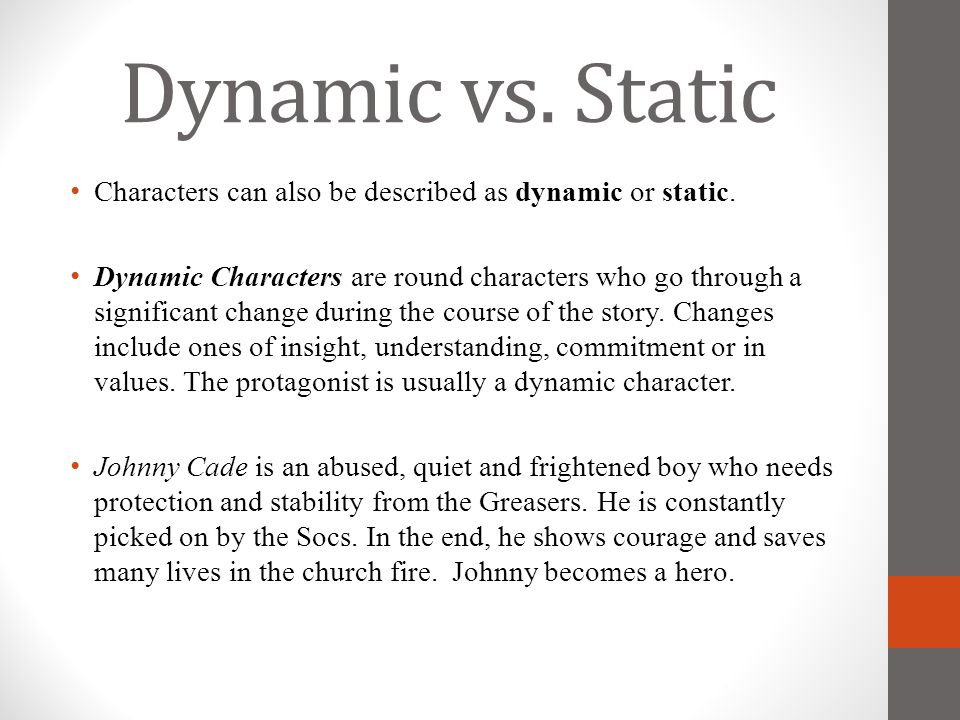 Dynamic vs. Static Characters can also be described as dynamic or static.