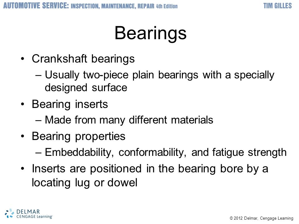 Bearings Crankshaft bearings Bearing inserts Bearing properties
