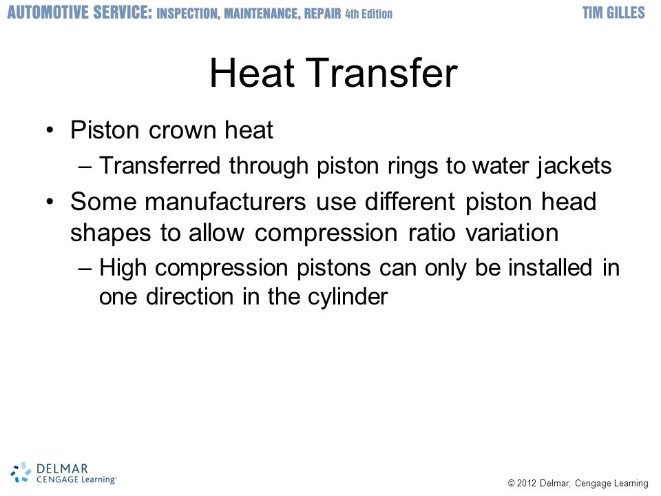 Heat Transfer Piston crown heat
