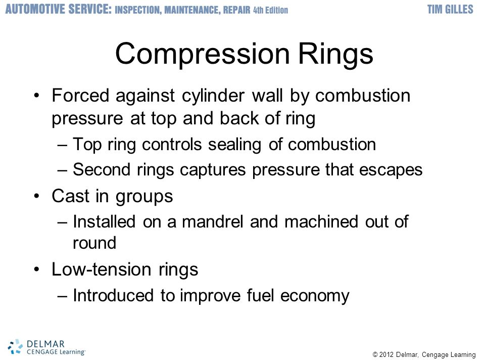 Compression Rings Forced against cylinder wall by combustion pressure at top and back of ring. Top ring controls sealing of combustion.
