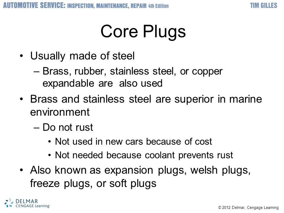 Core Plugs Usually made of steel