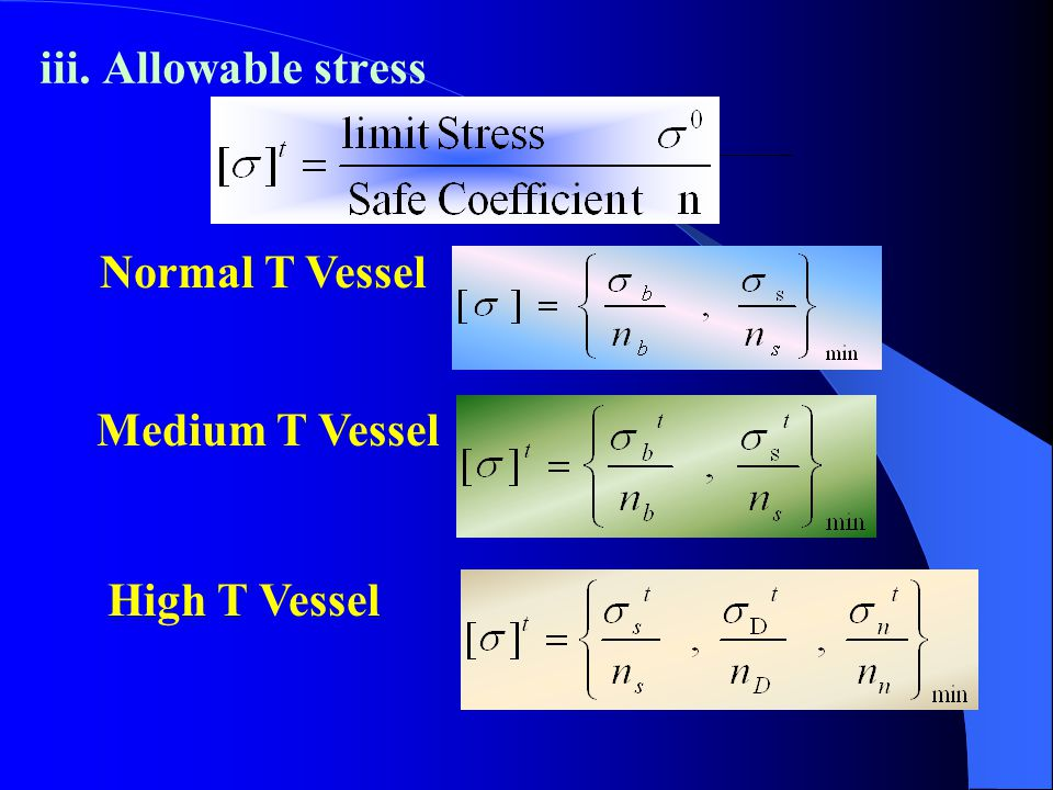 iii. Allowable stress Normal T Vessel Medium T Vessel High T Vessel
