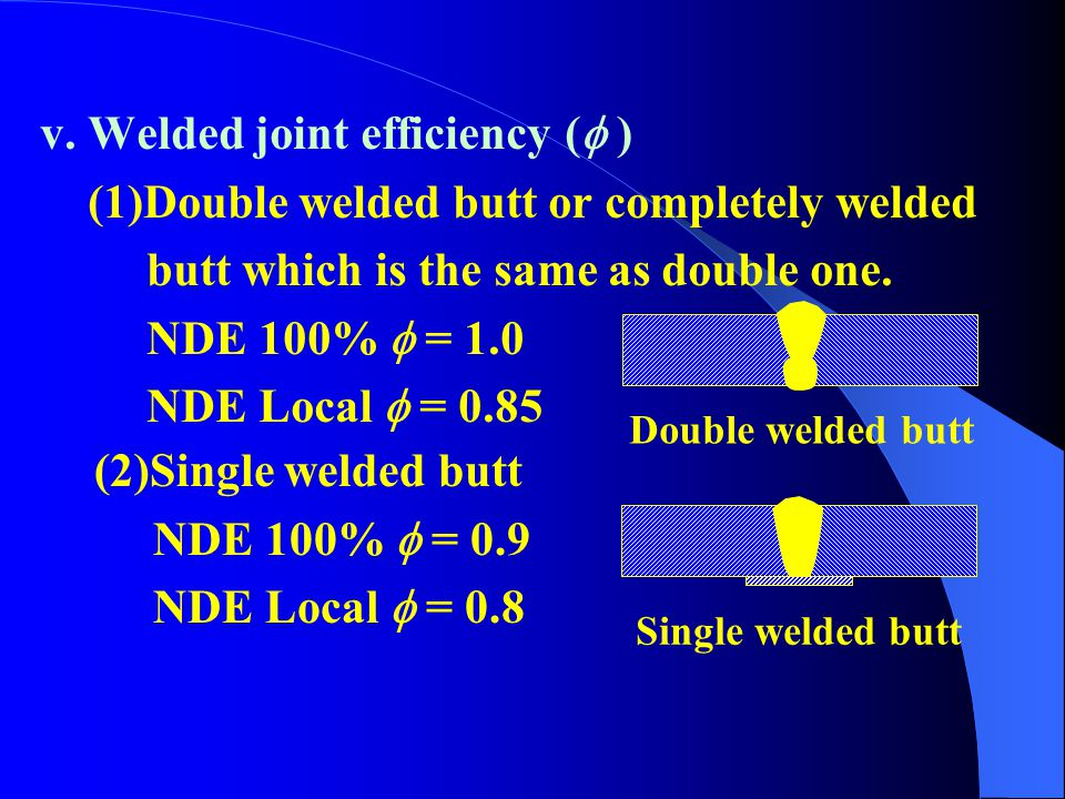 v. Welded joint efficiency ( )