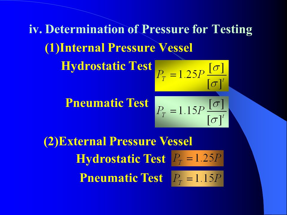 iv. Determination of Pressure for Testing