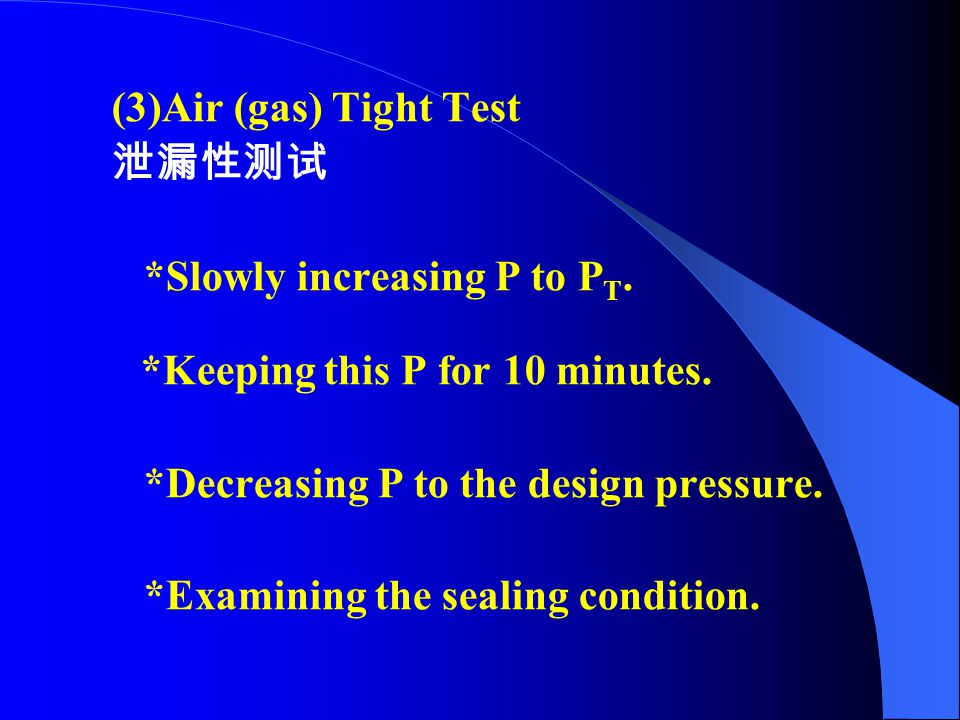 (3)Air (gas) Tight Test 泄漏性测试. *Slowly increasing P to PT. *Keeping this P for 10 minutes. *Decreasing P to the design pressure.