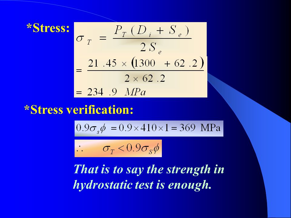 *Stress: *Stress verification: That is to say the strength in hydrostatic test is enough.