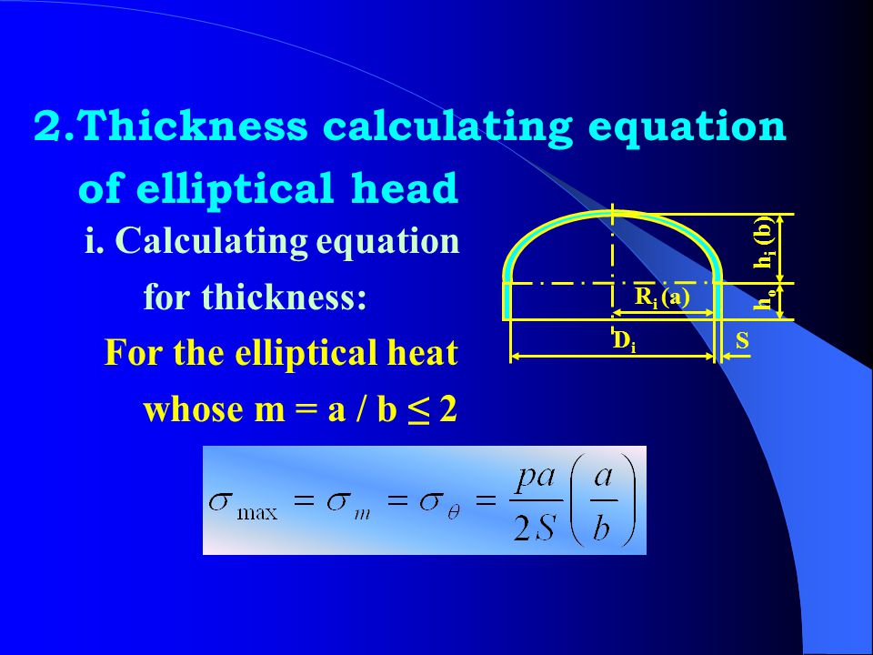 2.Thickness calculating equation of elliptical head