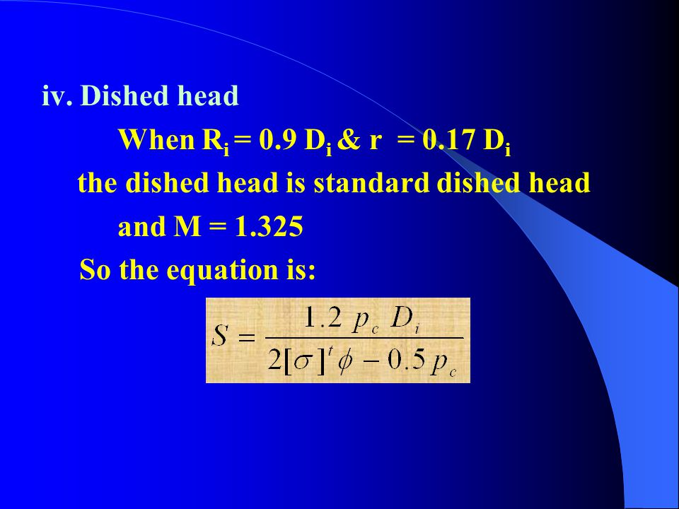iv. Dished head When Ri = 0.9 Di & r = 0.17 Di. the dished head is standard dished head. and M = 1.325.