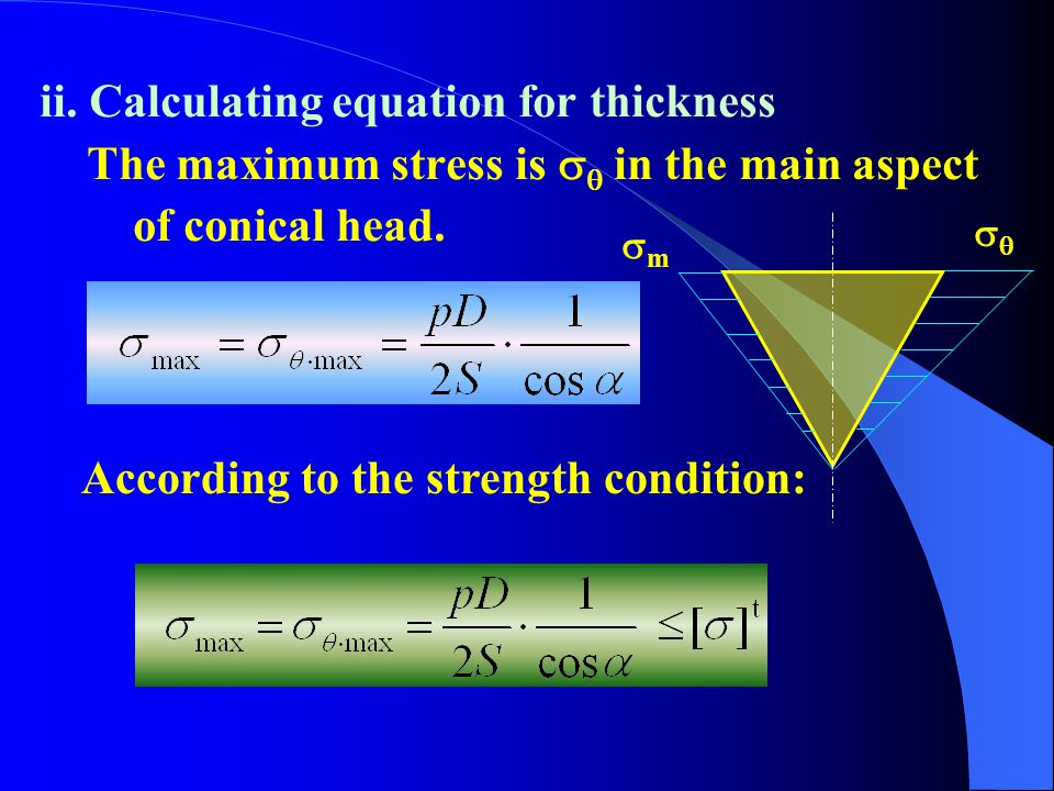 ii. Calculating equation for thickness