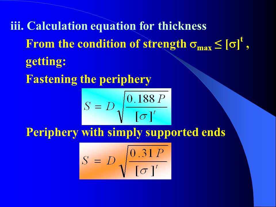 iii. Calculation equation for thickness