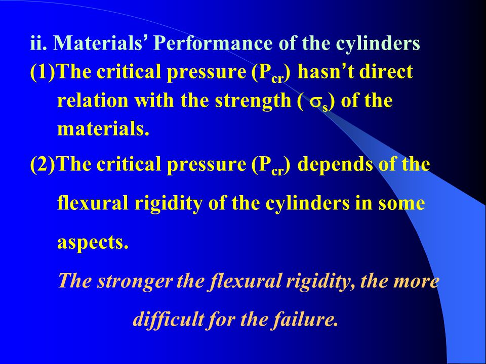 ii. Materials' Performance of the cylinders