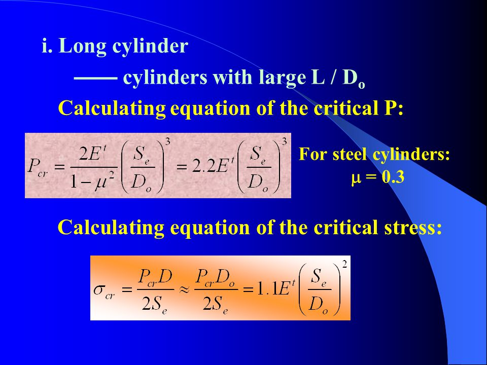 Calculating equation of the critical stress: