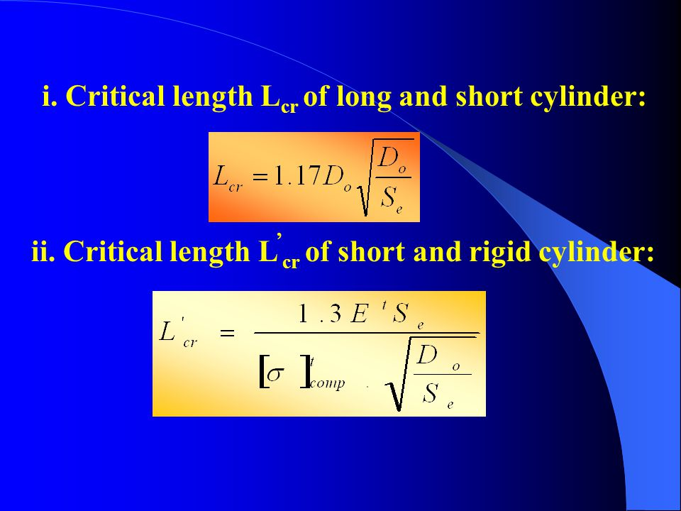 i. Critical length Lcr of long and short cylinder: