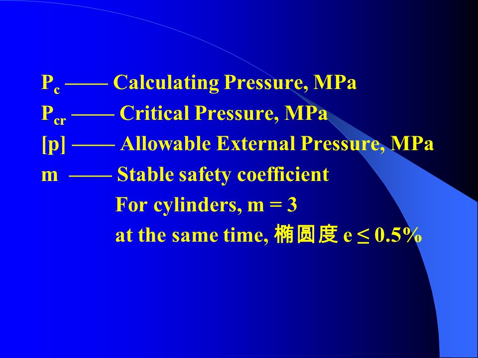 Pc —— Calculating Pressure, MPa