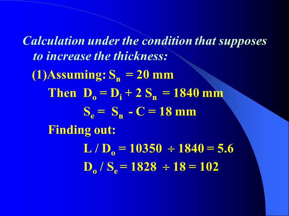 Calculation under the condition that supposes to increase the thickness: