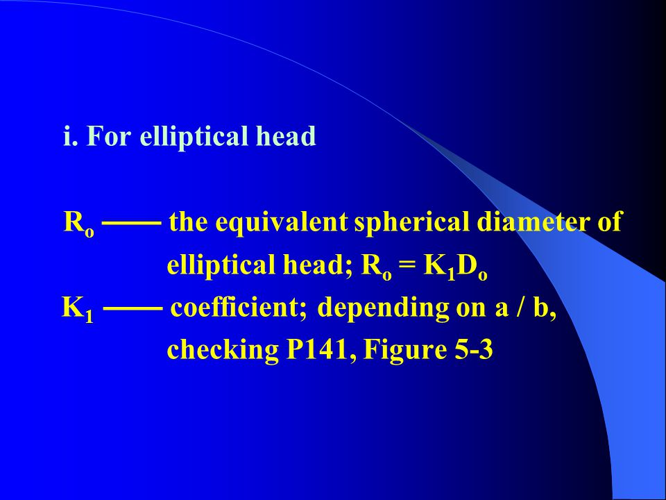 i. For elliptical head Ro —— the equivalent spherical diameter of. elliptical head; Ro = K1Do. K1 —— coefficient; depending on a / b,