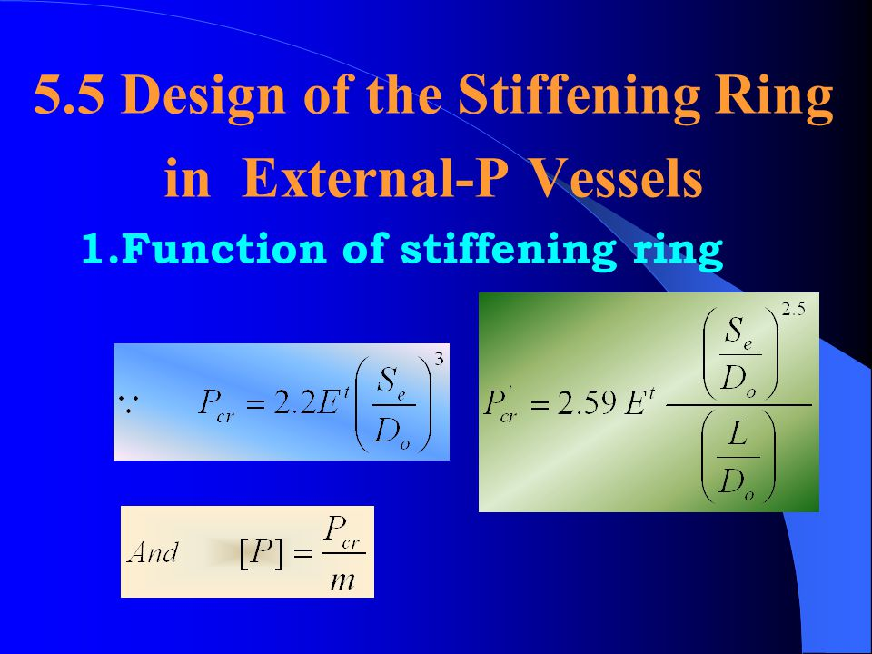 5.5 Design of the Stiffening Ring in External-P Vessels