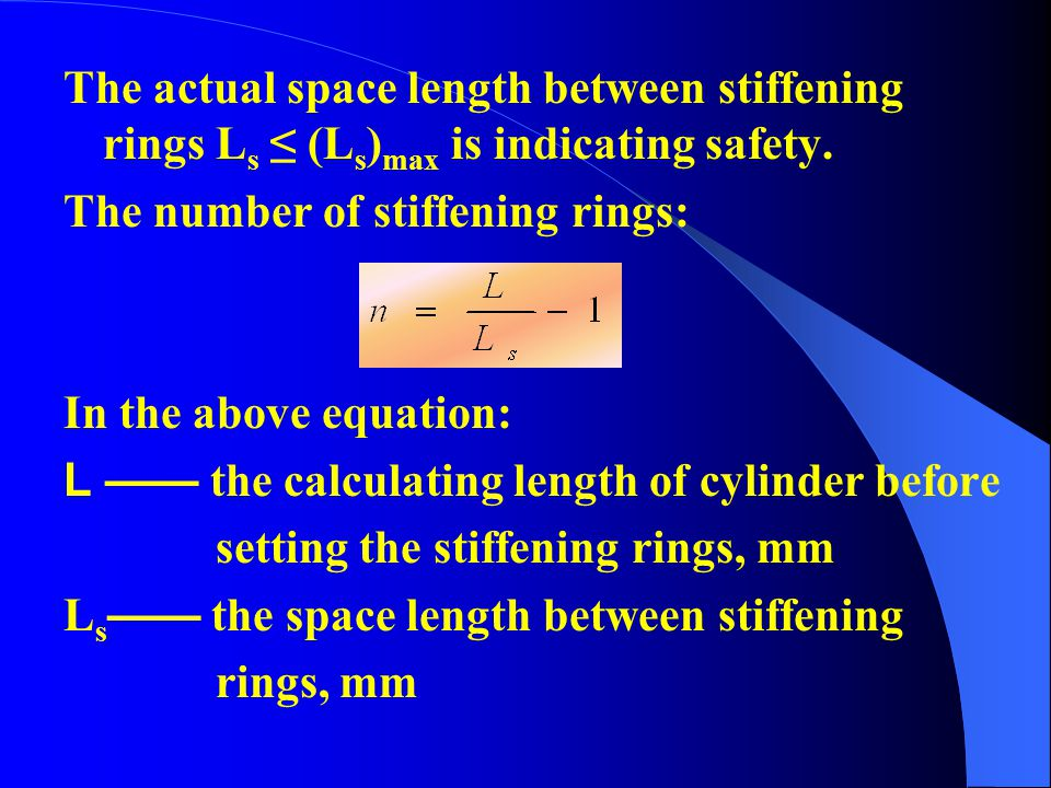 The actual space length between stiffening rings Ls ≤ (Ls)max is indicating safety.
