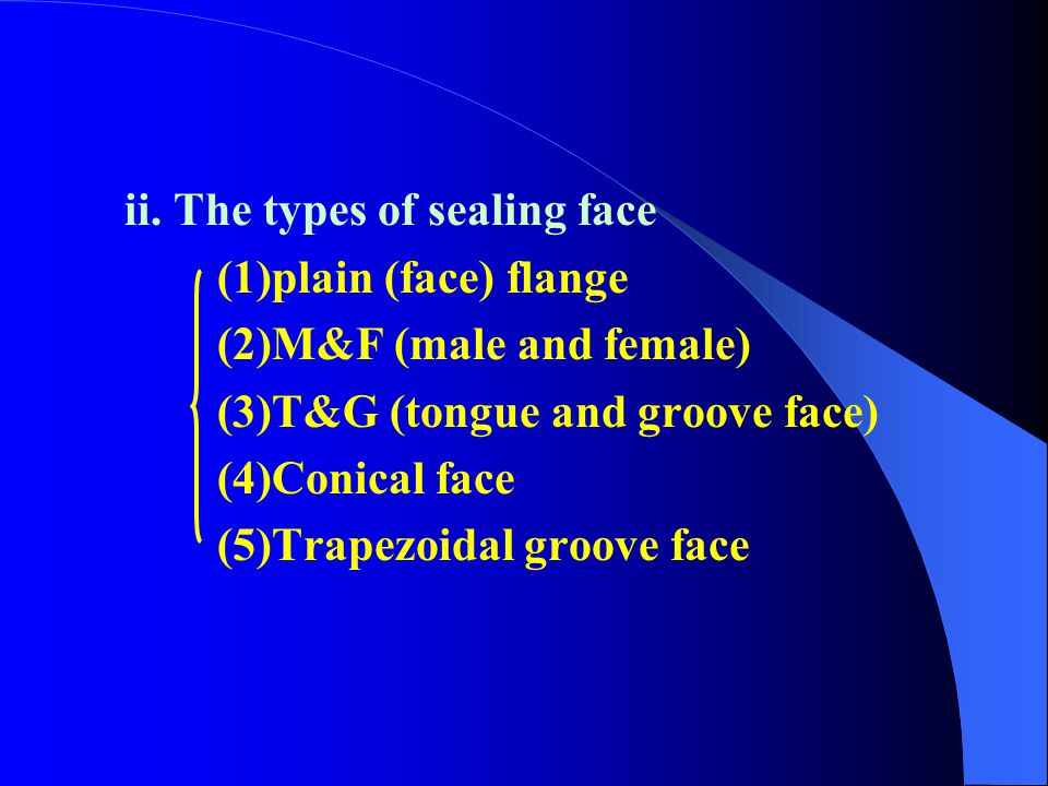 ii. The types of sealing face