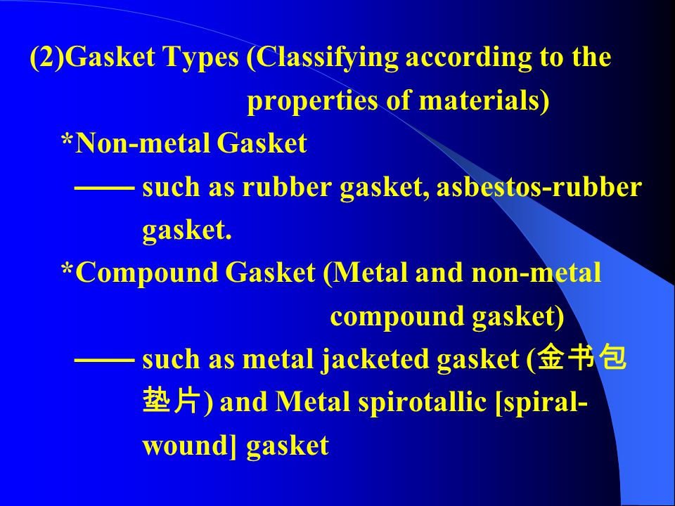 (2)Gasket Types (Classifying according to the