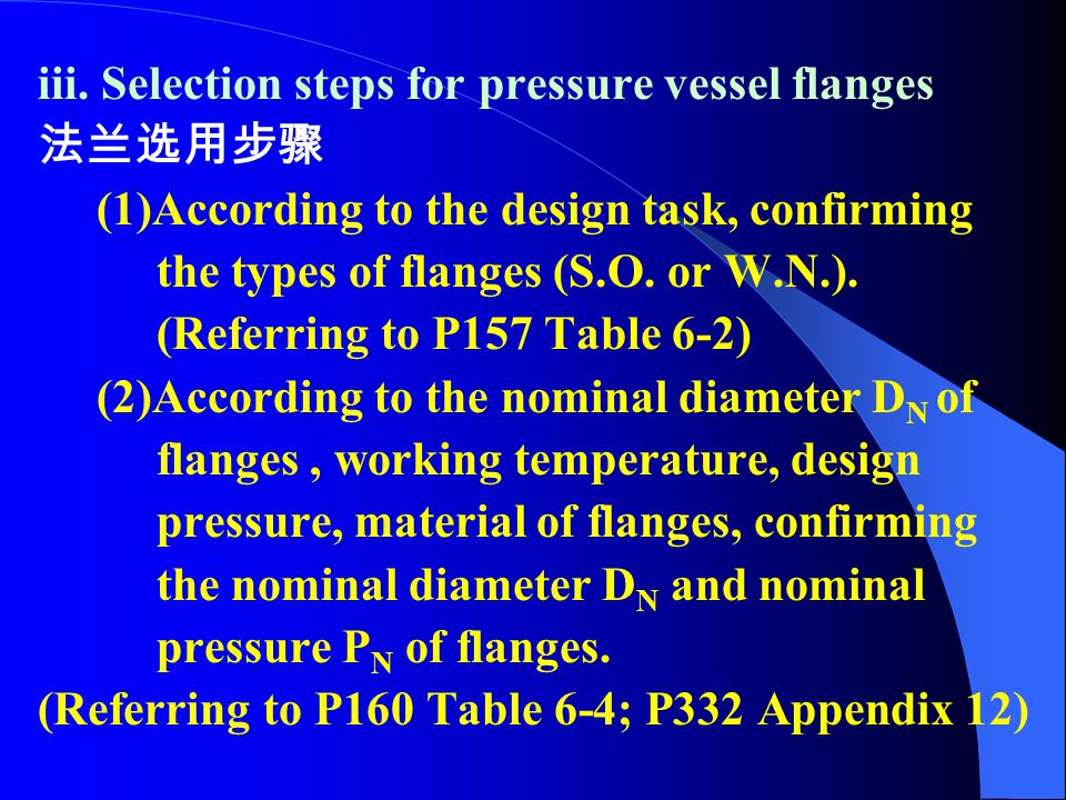 iii. Selection steps for pressure vessel flanges