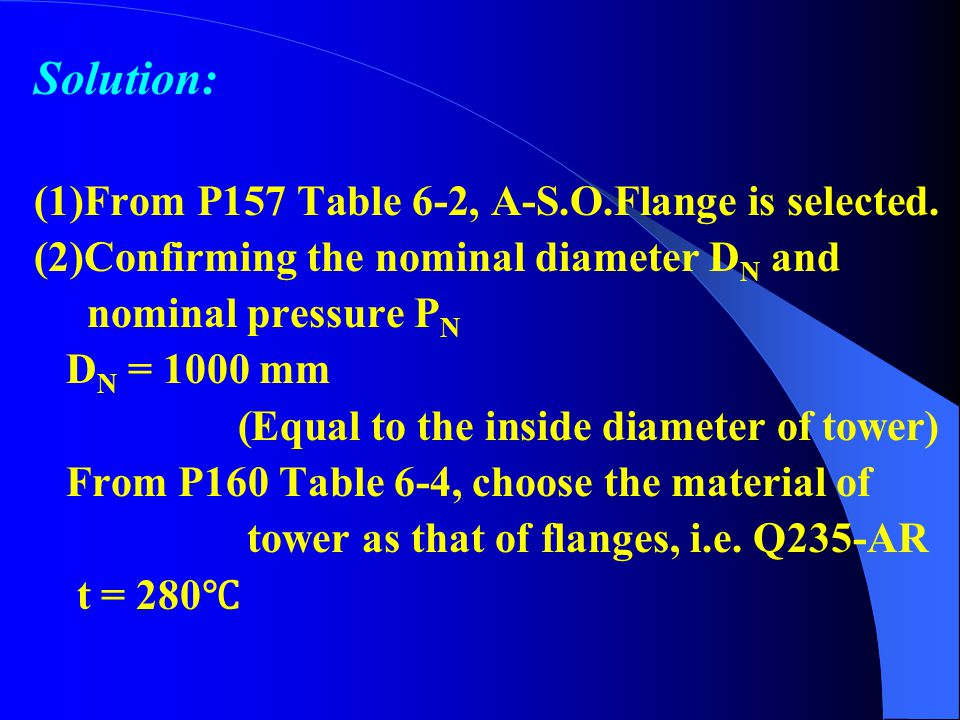 Solution: (1)From P157 Table 6-2, A-S.O.Flange is selected.