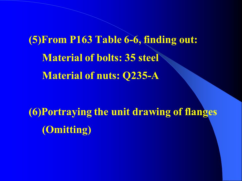 (5)From P163 Table 6-6, finding out: