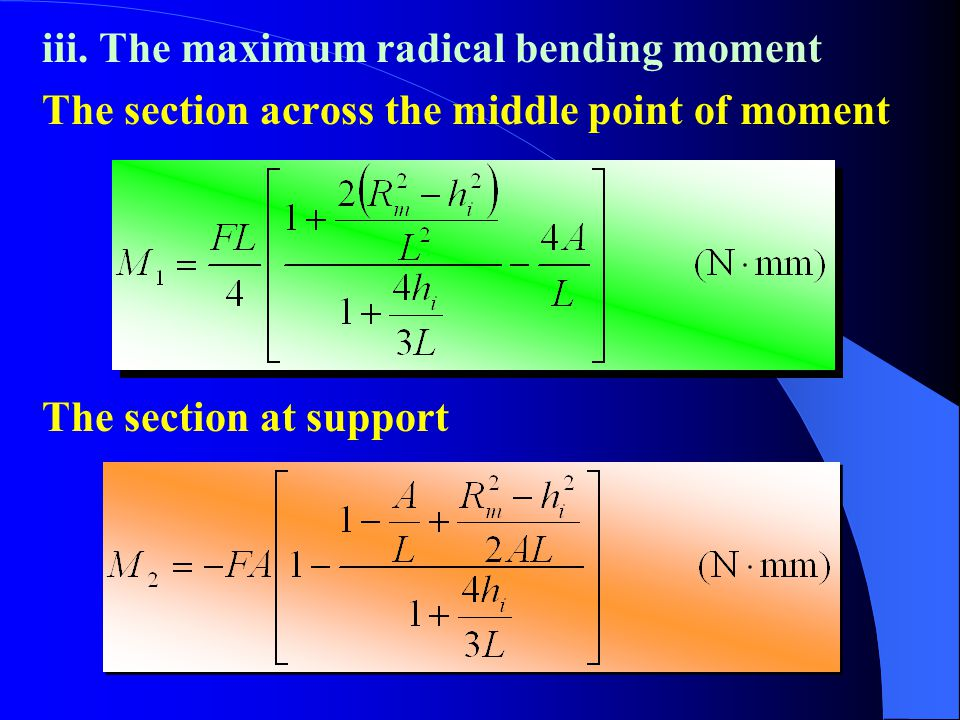 iii. The maximum radical bending moment