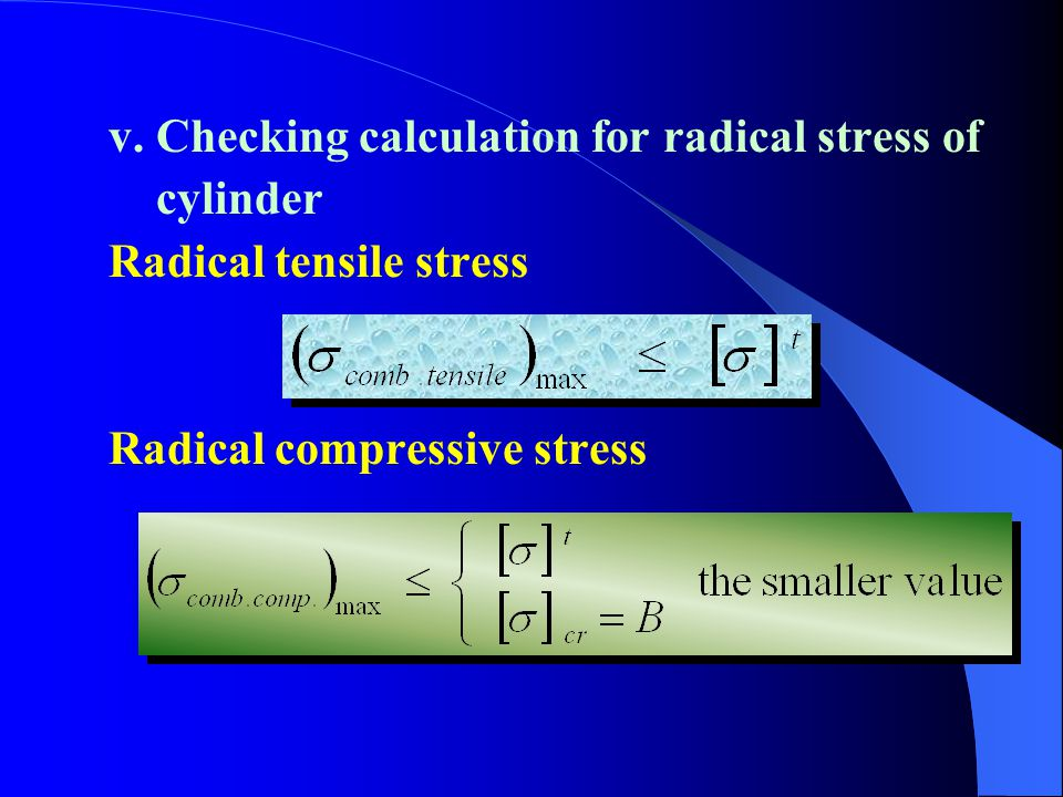 v. Checking calculation for radical stress of