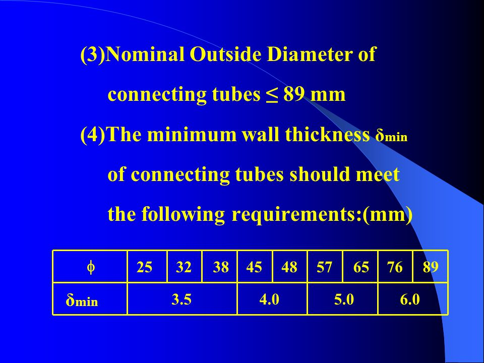 (3)Nominal Outside Diameter of connecting tubes ≤ 89 mm