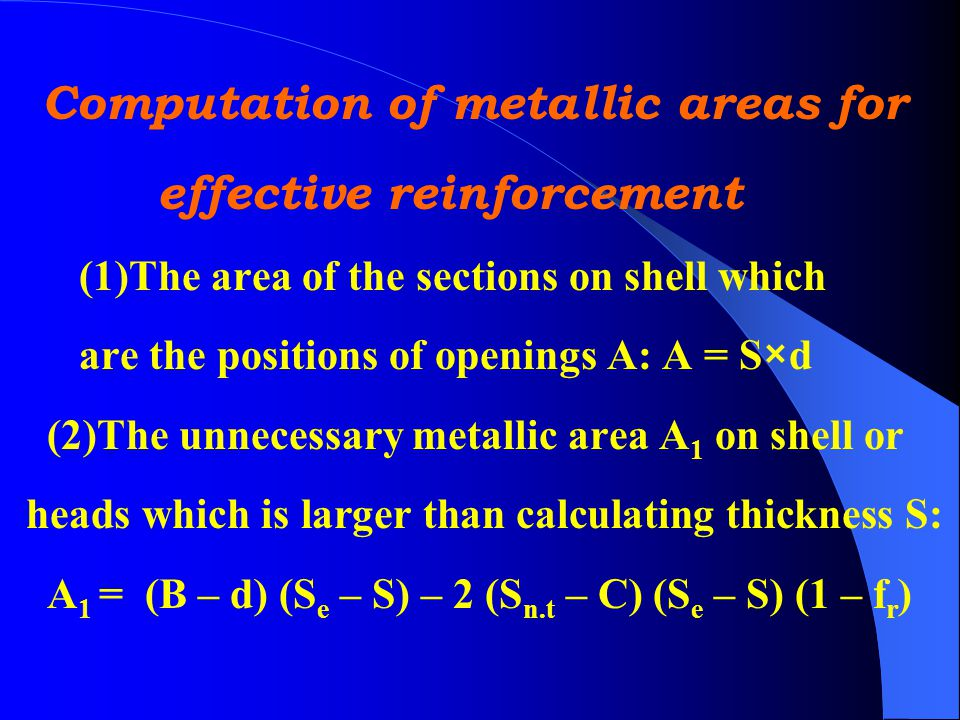 Computation of metallic areas for effective reinforcement