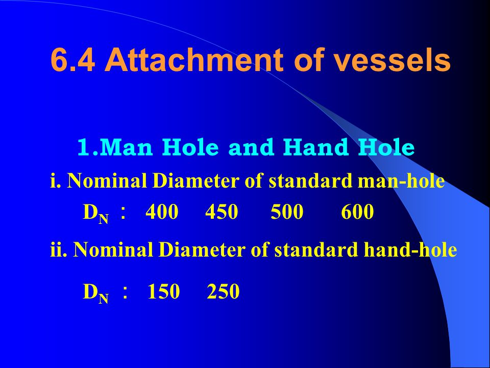 6.4 Attachment of vessels 1.Man Hole and Hand Hole