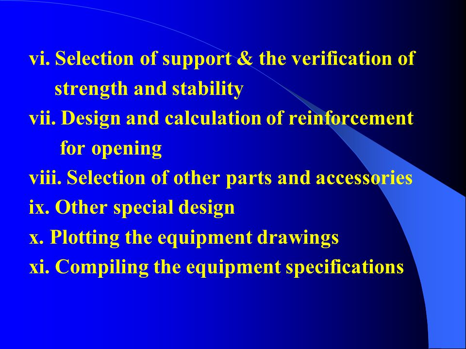 vi. Selection of support & the verification of