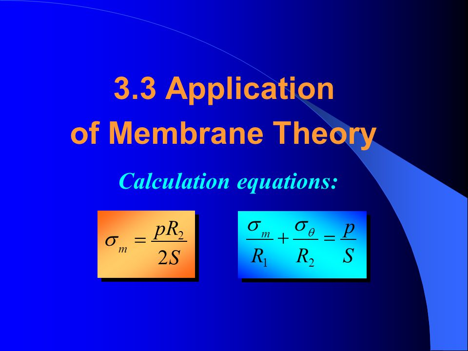 3.3 Application of Membrane Theory Calculation equations: S pR = s S p