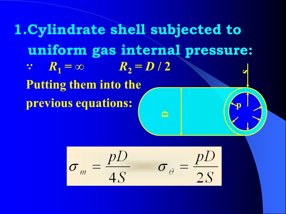 1.Cylindrate shell subjected to uniform gas internal pressure: