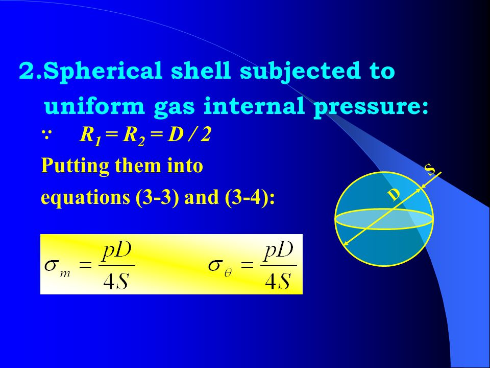 2.Spherical shell subjected to uniform gas internal pressure:
